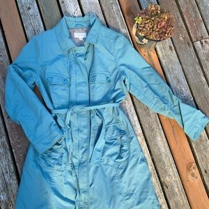 Blue Belted Trench Coat Jacket L Merona
